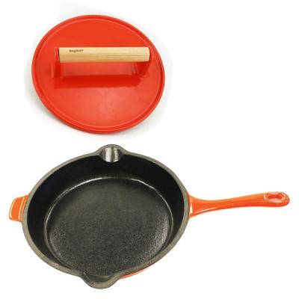 Neo Cast Iron Frying Pan and Steak Press Set