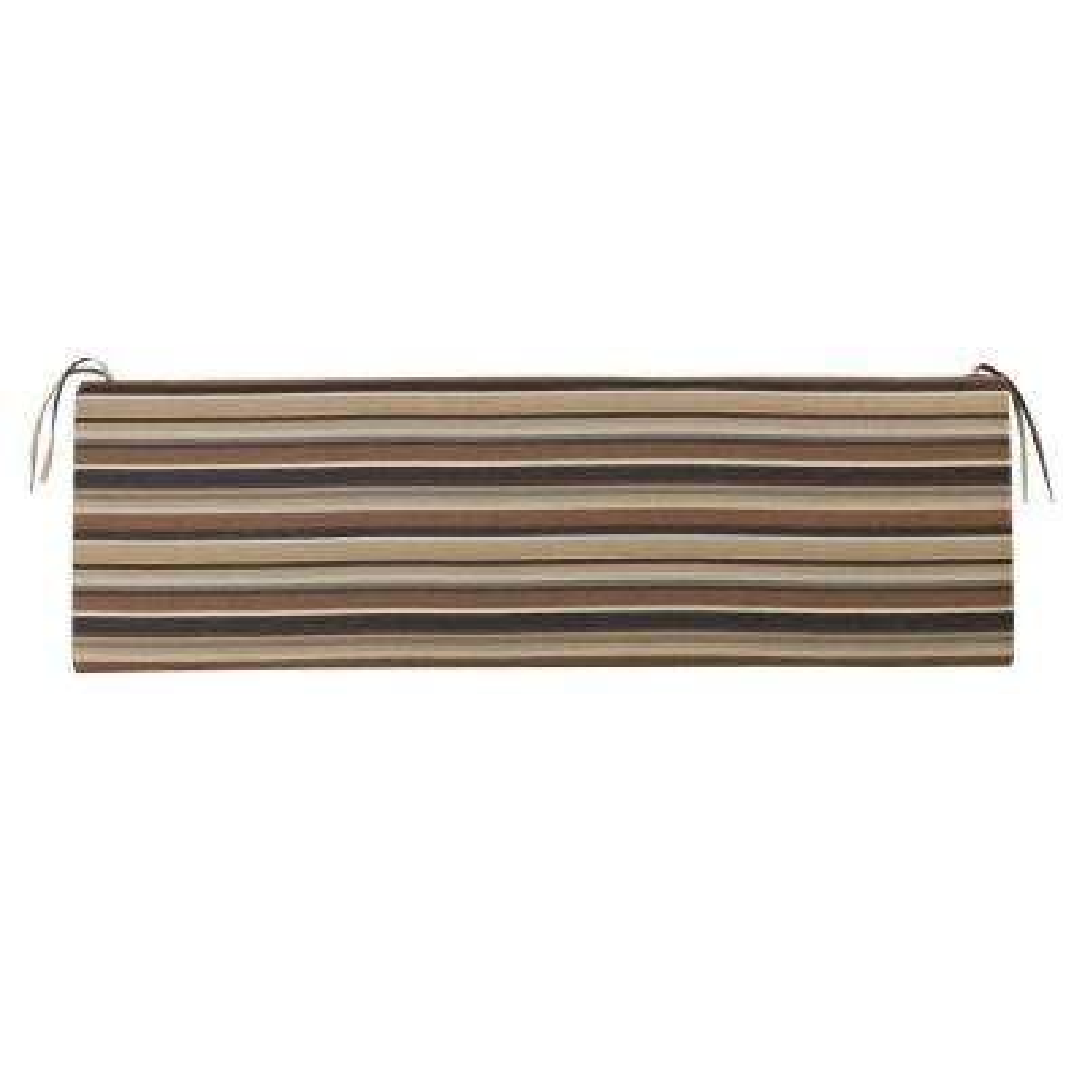Sunbrella Espresso Stripe Outdoor Bench Cushion