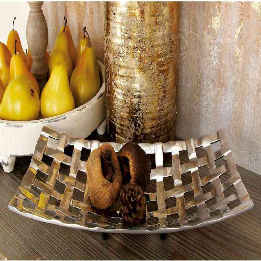 Polished Silver Aluminum Basket-Weave-Design Rectangular Bowled Tray (Set of 2)