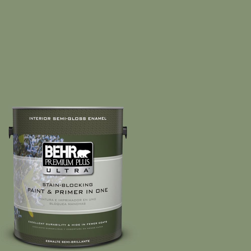 BEHR Premium Plus Ultra 1-gal. #BIC-26 Aloe Plant Semi-Gloss Enamel Interior Paint