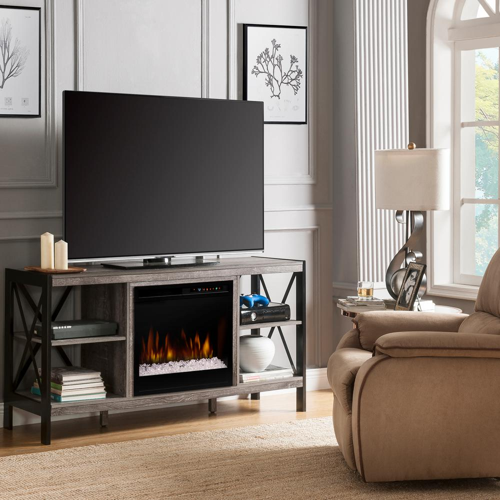 Dimplex ramona 65 in media console in autumn bronze with - Going to bed with embers in fireplace ...