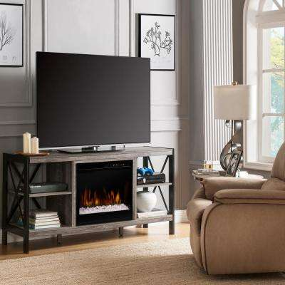 Ramona 65 in. Media Console in Autumn Bronze with 23 in. Electric Fireplace with Glass Ember Bed