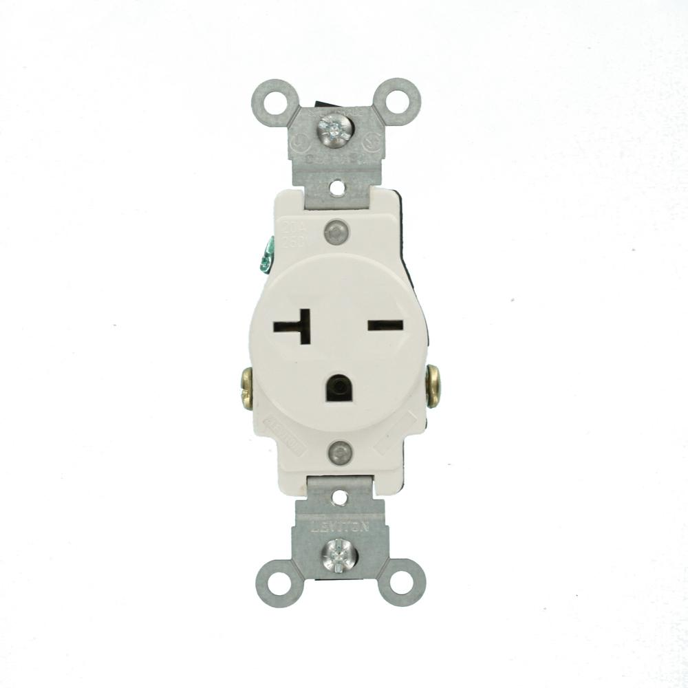 Narrow Body Single Receptacle 3W 2P Leviton 5461-W 20-Amp 250-Volt NEMA 6-20R White
