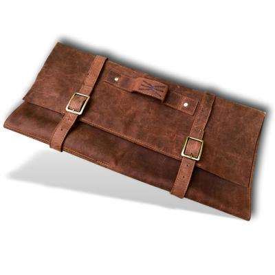 Large Double Buckle Leather Handmade Knife Roll with 11 Pockets