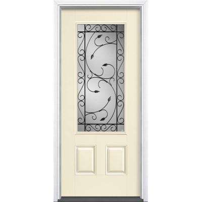 36 in. x 80 in. Pergola Golden Haystack 3/4 Lite Left Hand Painted Smooth Fiberglass Prehung Front Door with Brickmold