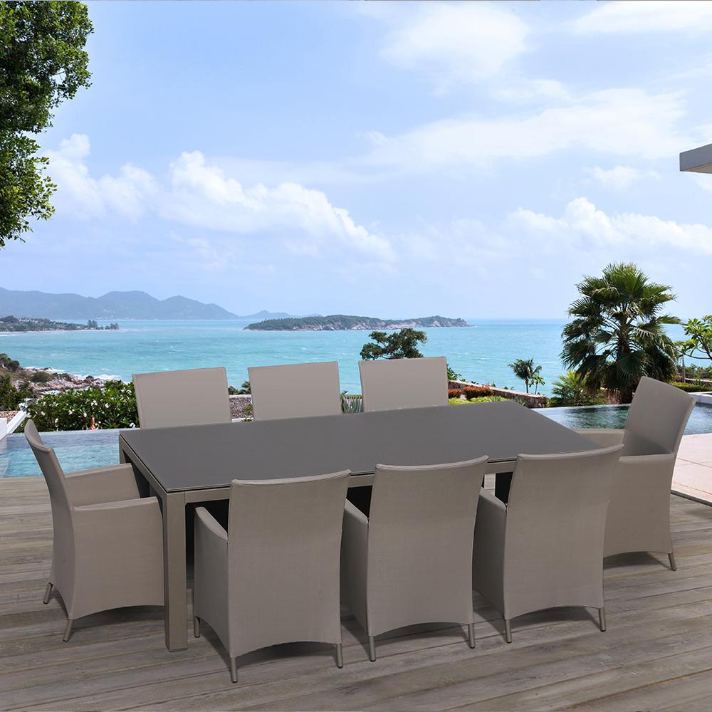 OVE Decors Calais 9-Piece Aluminum Rectangular Outdoor Patio Dining Set with Cappuccino... by OVE Decors
