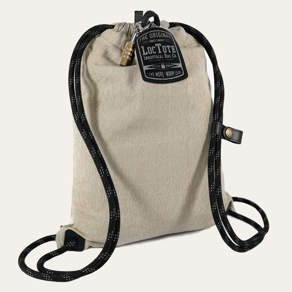 Loctote Flak Sack Sport 18 in. Khaki Backpack with Theft Proof  Features-21241-4 - The Home Depot 34089b75e7ae9