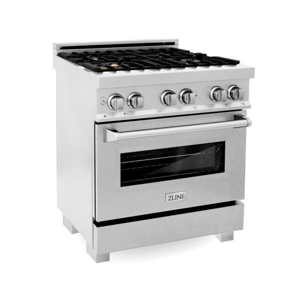 ZLINE 30 in. Professional 4.0 cu. ft. 4 Dual Fuel Range in DuraSnow Stainless Steel with Brass Burners (RAS-SN-BR-30)