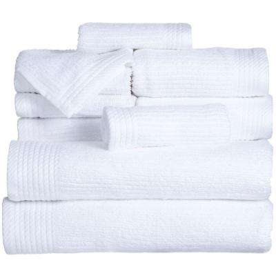 Ribbed Egyptian Cotton Towel Set in White (10-Piece)