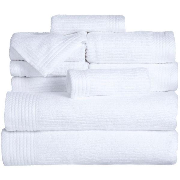 Lavish Home Ribbed Egyptian Cotton Towel Set in White (10-Piece) 67-0021-W