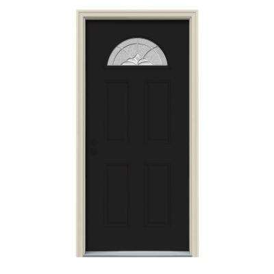 30 in. x 80 in. Fan Lite Langford Black w/ White Interior Steel Prehung Right-Hand Inswing Front Door w/Brickmould