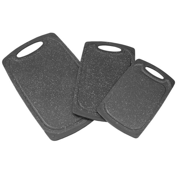 3-Piece Black Plastic Double Sided Granite Look Non-Slip Cutting Board Set with Deep Juice Groove and Easy Grip Handle