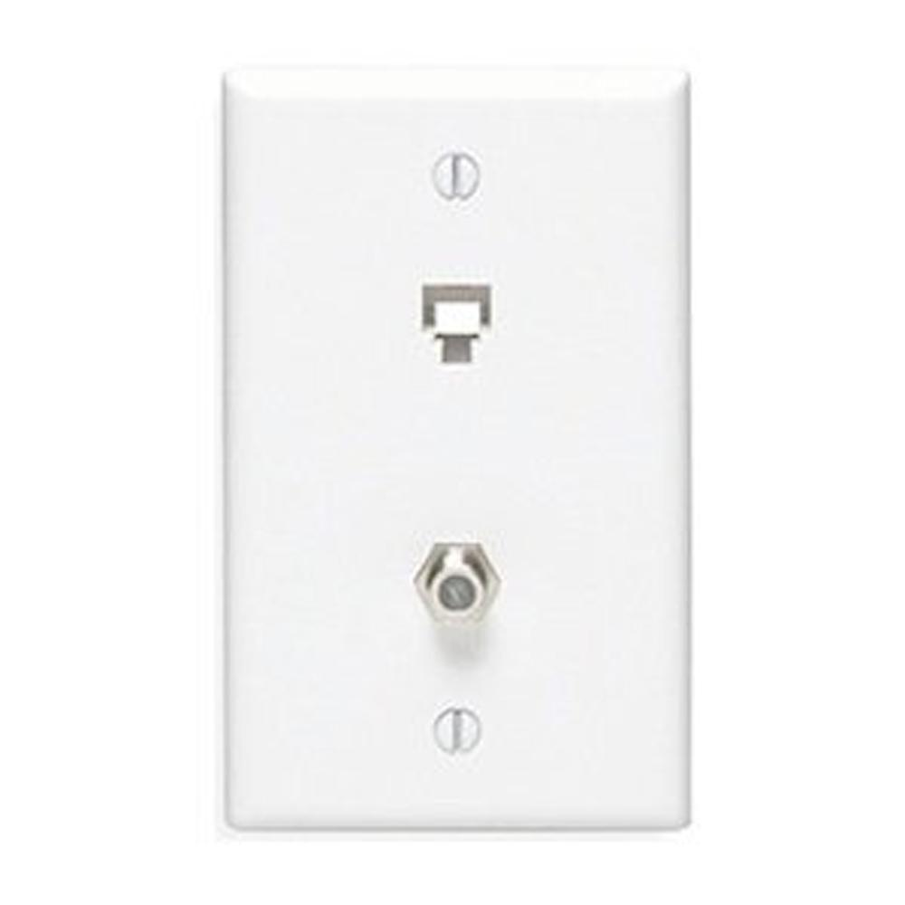6P4C + F Connector Type 625D Wall Phone Jack, White
