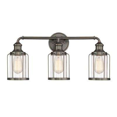 3-Light Satin Copper Bronze Vanity Light with Clear Glass Shades