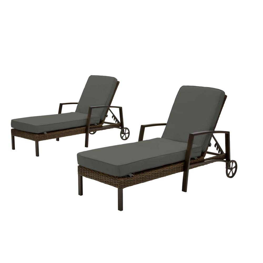 Hampton Bay Whitfield Dark Brown Wicker Outdoor Patio Chaise Lounge with CushionGuard Graphite Dark Gray Cushions (2-Pack) was $699.0 now $531.24 (24.0% off)