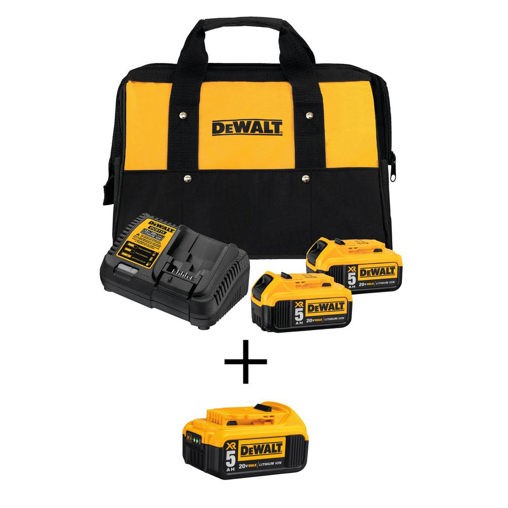 DEWALT 20-Volt MAX XR Lithium Ion Starter Kit w/ Premium Battery Pack 5.0Ah (2-Pack), Charger & Kit Bag w/ Bonus Battery 5.0Ah