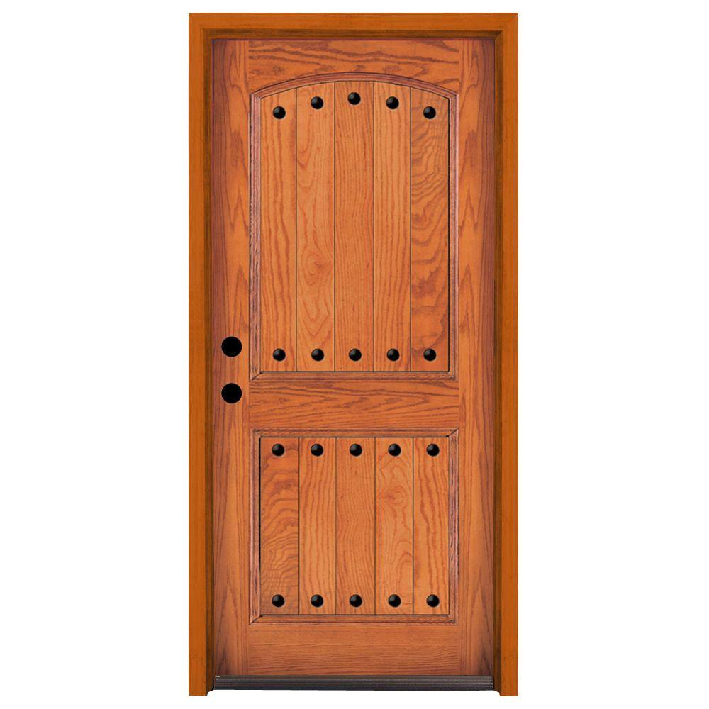 Steves & Sons 36 in. x 80 in. Rustic 2-Panel Stained Oak Wood Prehung Front Door