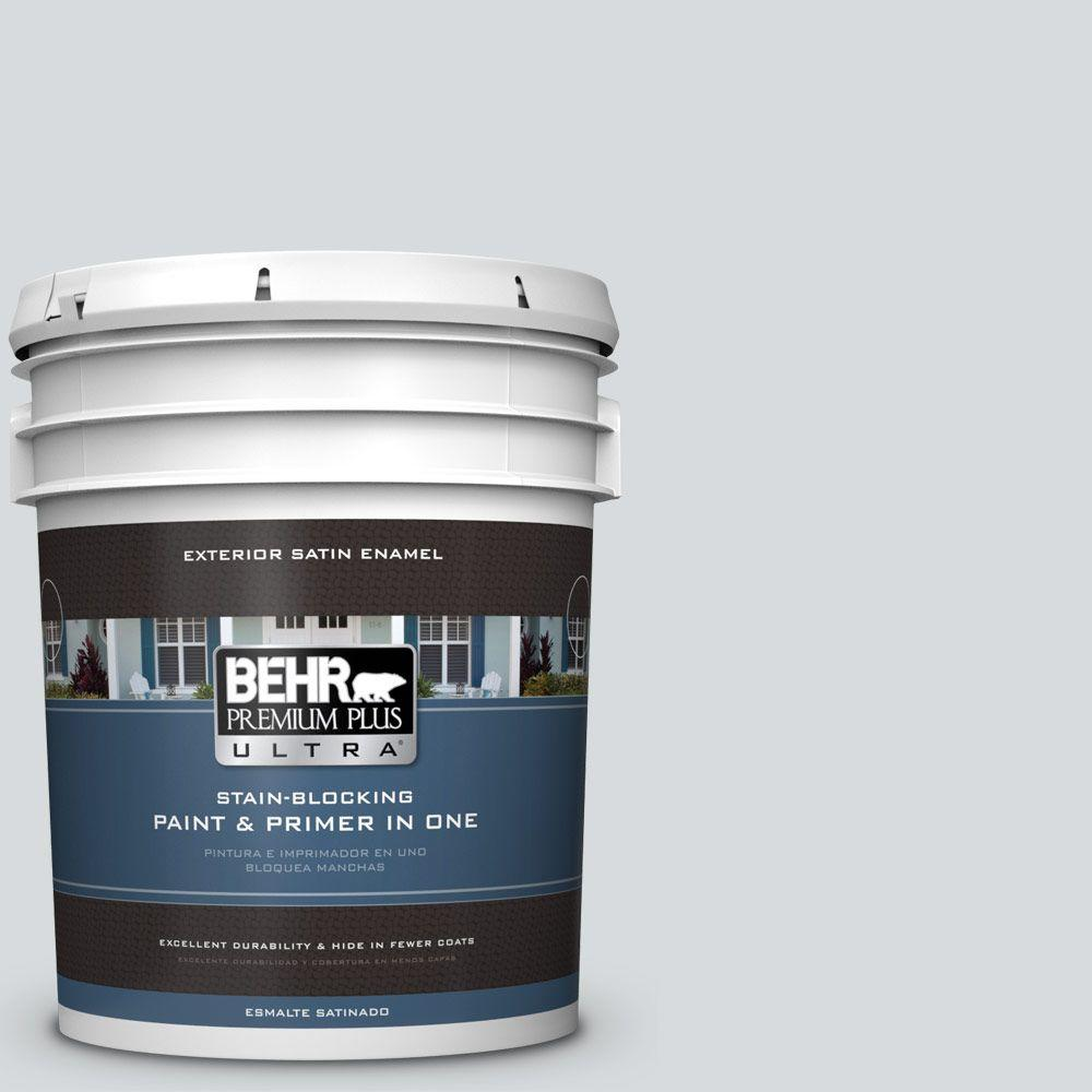BEHR Premium Plus Ultra 5-gal. #PPL-65 Silver Charm Satin Enamel Exterior Paint