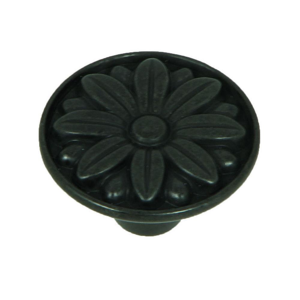 Mayflower 1-1/4 in. Antique Black Round Cabinet Knob