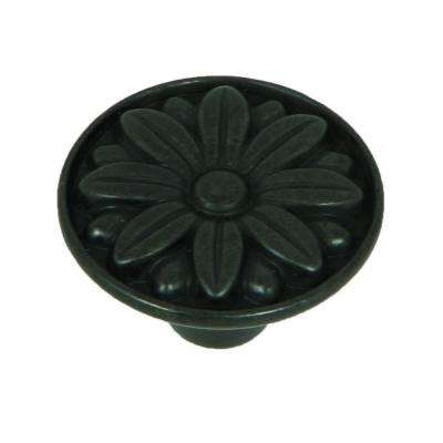 Mayflower 1-1/4 in. Antique Black Round Cabinet Knob (10-Pack)