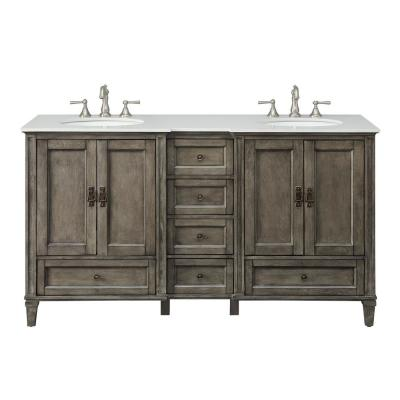 Overleigh 62 in. W x 22 in. D Bath Vanity in Brushed Gray with Marble Vanity Top in White with White Basins