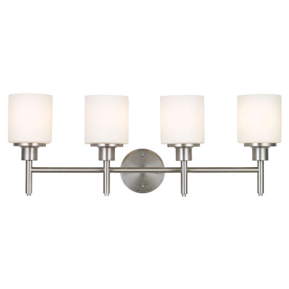 Design House Aubrey 40-Watt Satin Nickel Integrated LED 4-Light Vanity Light