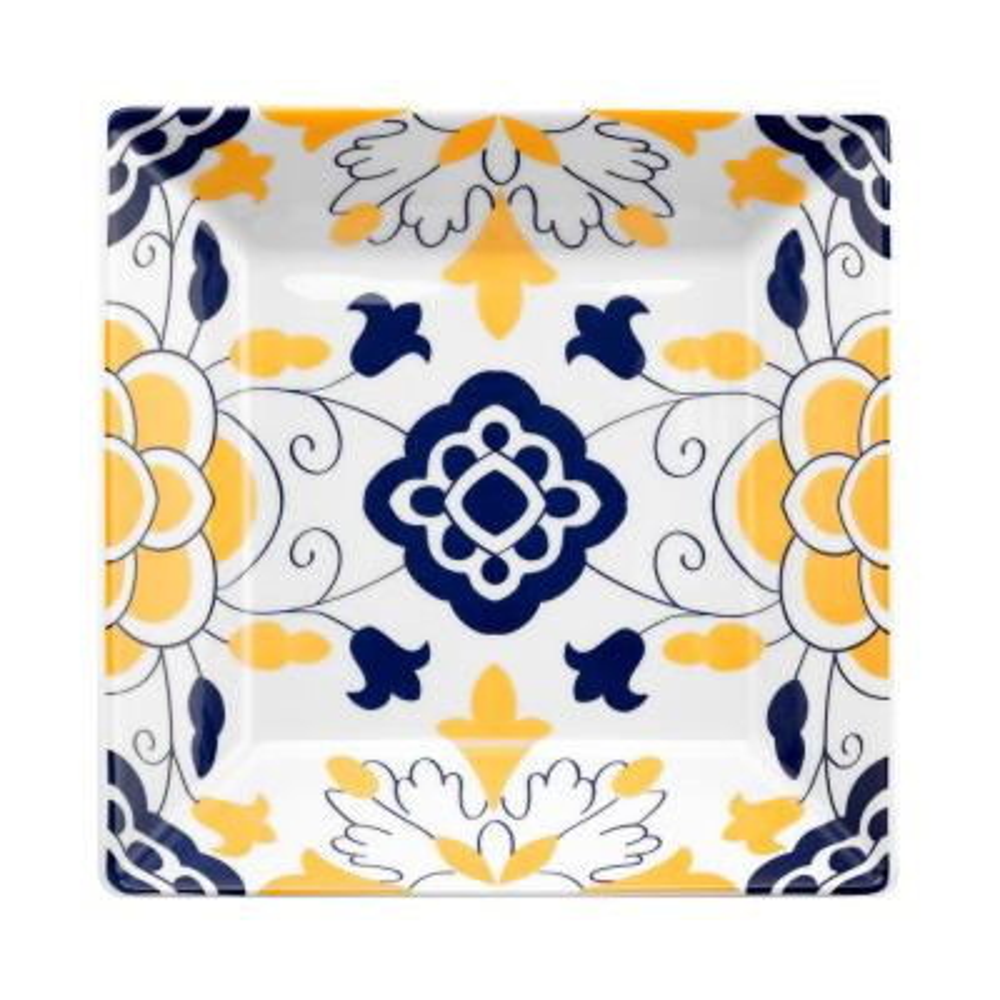 Quartier 24 fl. oz. Blue and Yellow 8.46 in. Square Porcelain Soup Bowl (Set of 12)