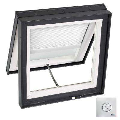 22-1/2 in. x 22-1/2 in. Solar Powered Venting Curb-Mount Skylight w/ Laminated Low-E3 Glass, White Room Darkening Blind