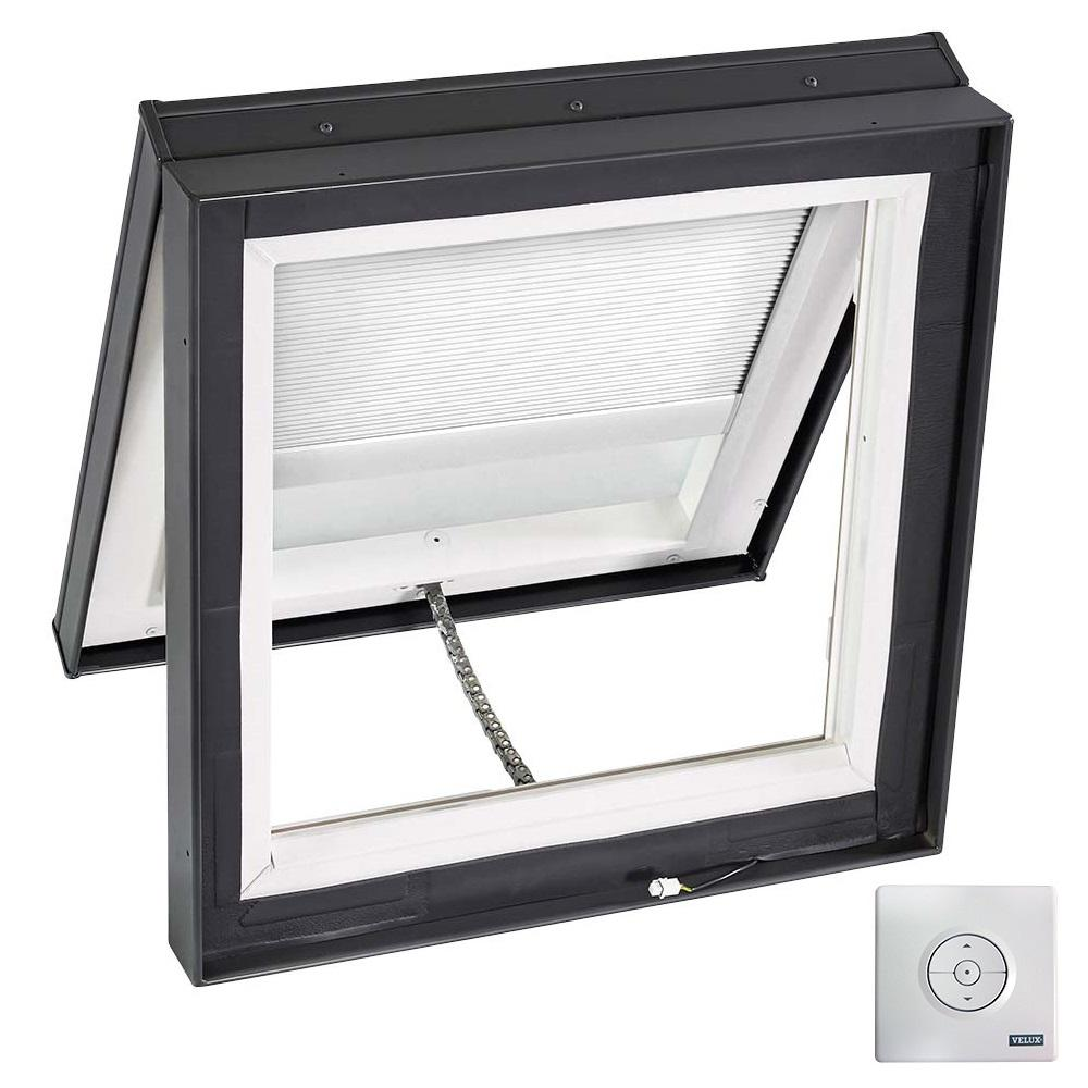 Velux 46 1 2 in x 46 1 2 in solar powered venting curb for Solar powered blinds for skylights