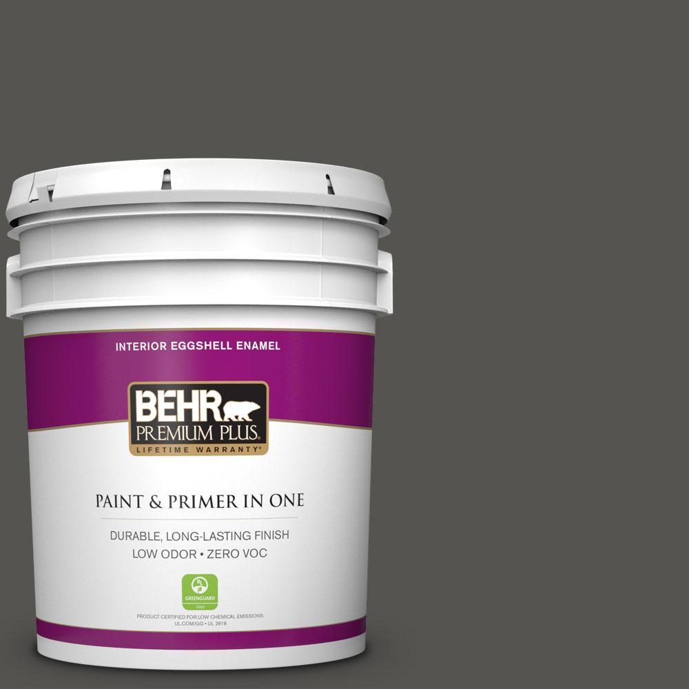 5 gal. #BXC-17 Dominant Gray Zero VOC Eggshell Enamel Interior Paint