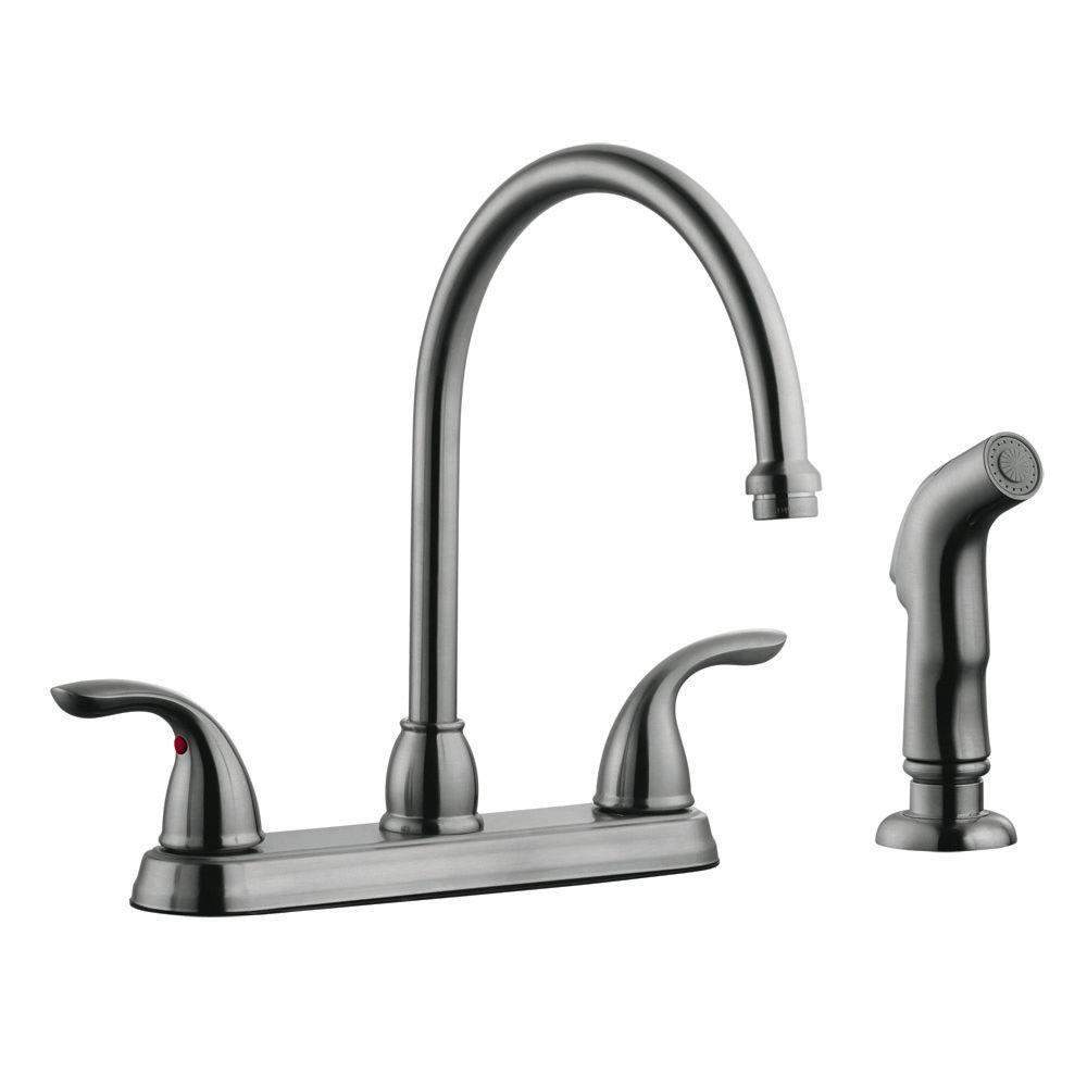 Ashland 2-Handle Standard Kitchen Faucet with Side Sprayer in Satin Nickel