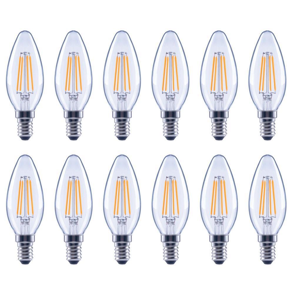 60-Watt Equivalent B11 E12 Dimmable Filament ENERGY STAR Classic Glass Candelabra LED Light Bulb, Soft White (12-Pack)