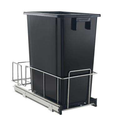 32 Qt. Black Pull Out Waste Can with Storage