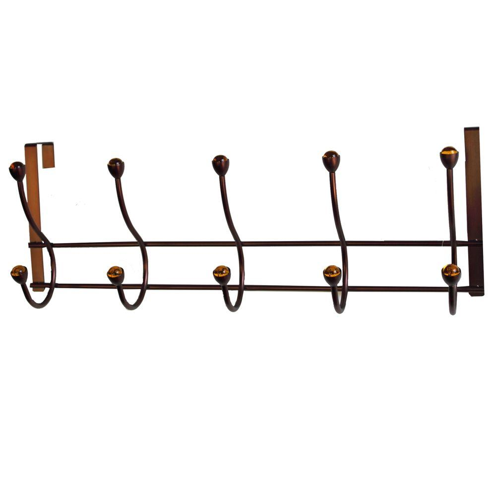 Elegant Home Fashions OTD   5 Over The Door Hooks In Rubbed Bronze With  Amber Jewel