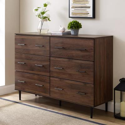 52 in. 6-Drawer Dark Walnut Dresser