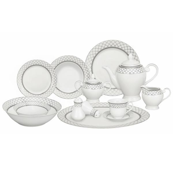 57-Piece Specialty Silver Accent Porcelain Dinnerware Set (Service for 8)