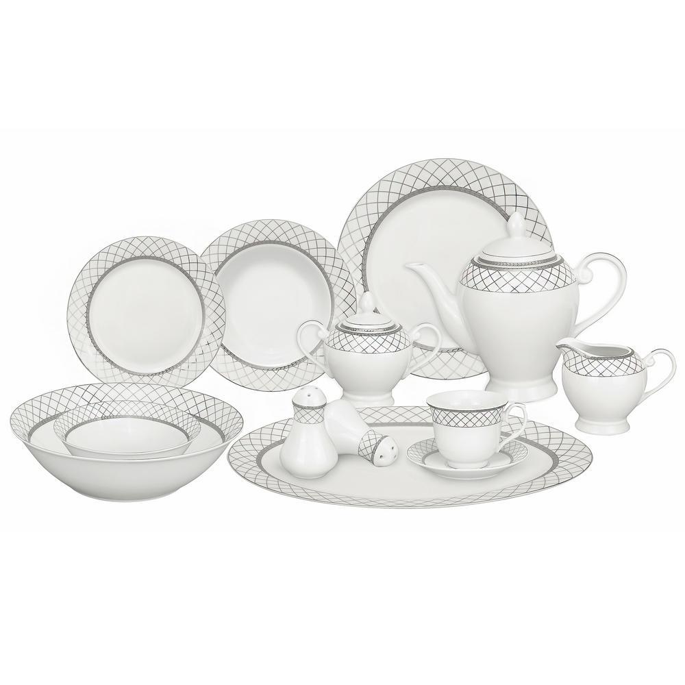 57-Piece Silver Border Porcelain Dinnerware Set