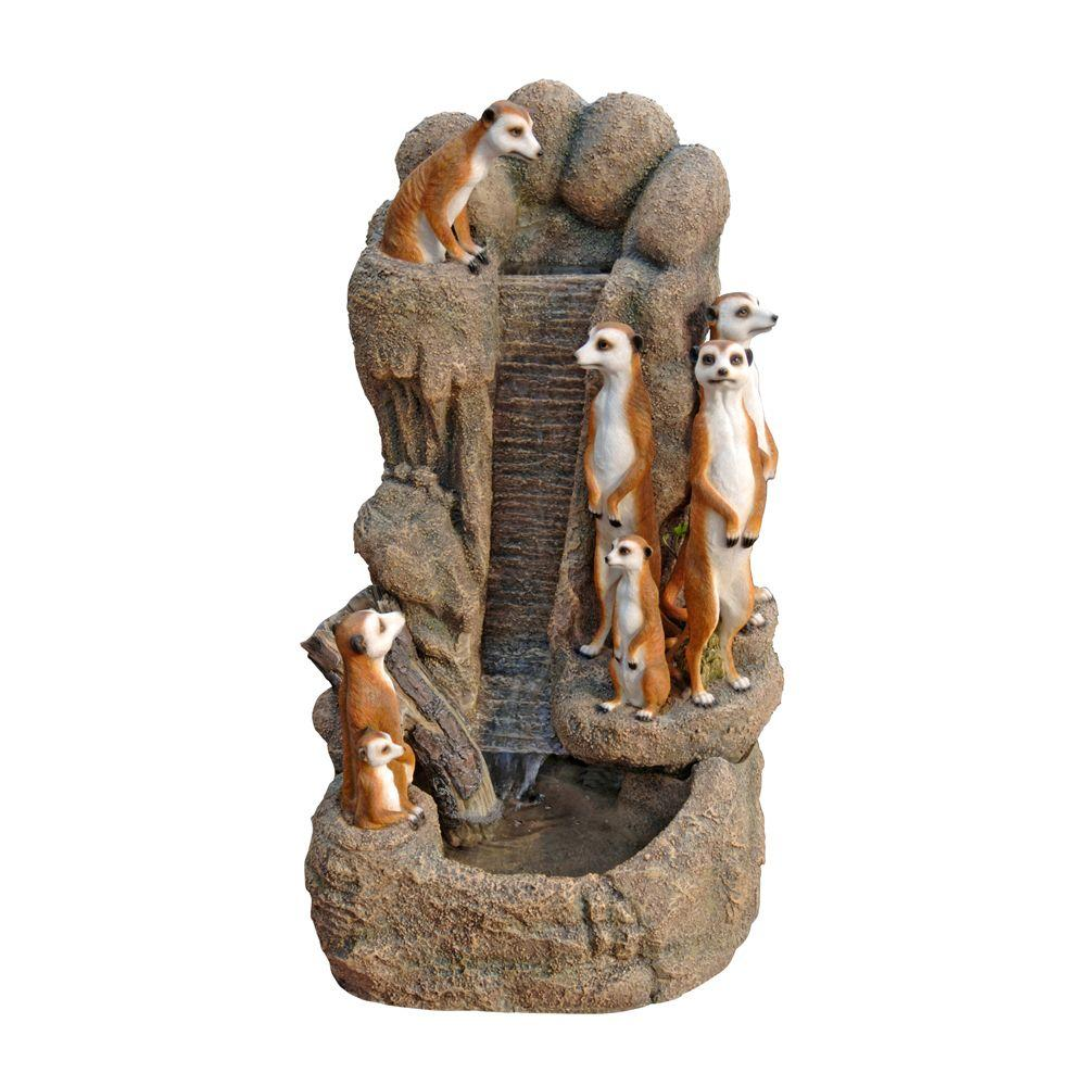 Design Toscano 18 in. W x 16 in. D x 30 in. H Meerkat Family Watering Hole Fountain