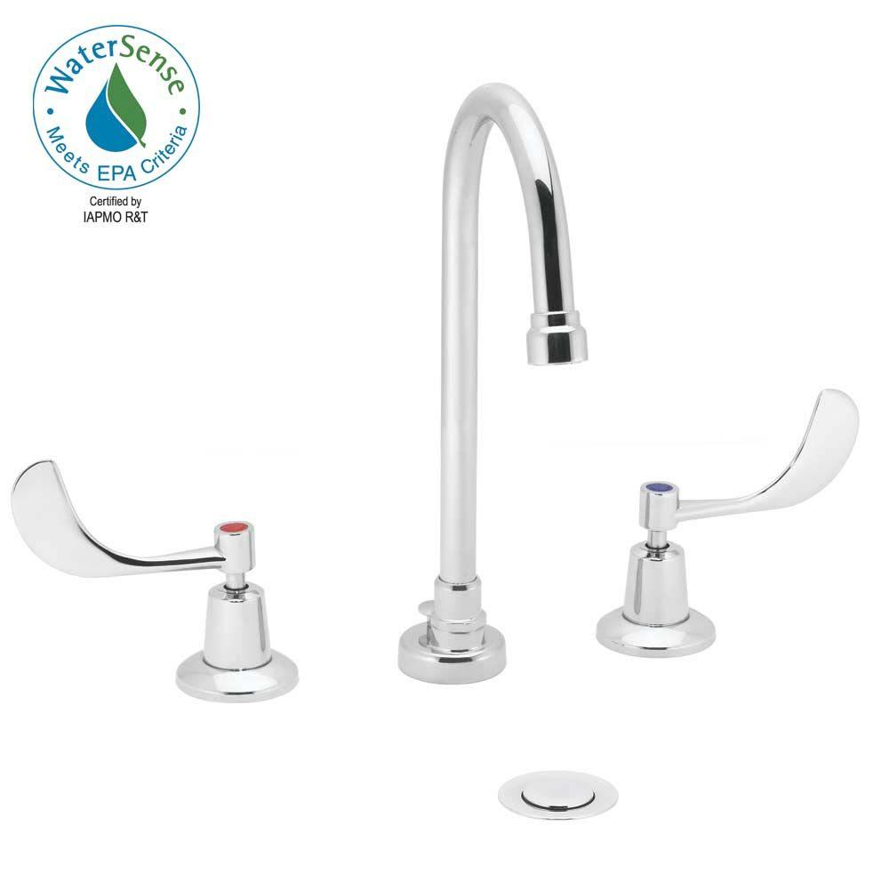Speakman Commander 8 in. Widespread 2-Handle Bathroom Faucet in Polished Chrome with 1-1/4 in. Brass Pop-Up Drain-DISCONTINUED