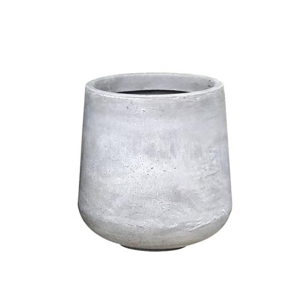 Small 13.4 in. Tall Natural Lightweight Concrete Footed Tulip Outdoor Round Planter