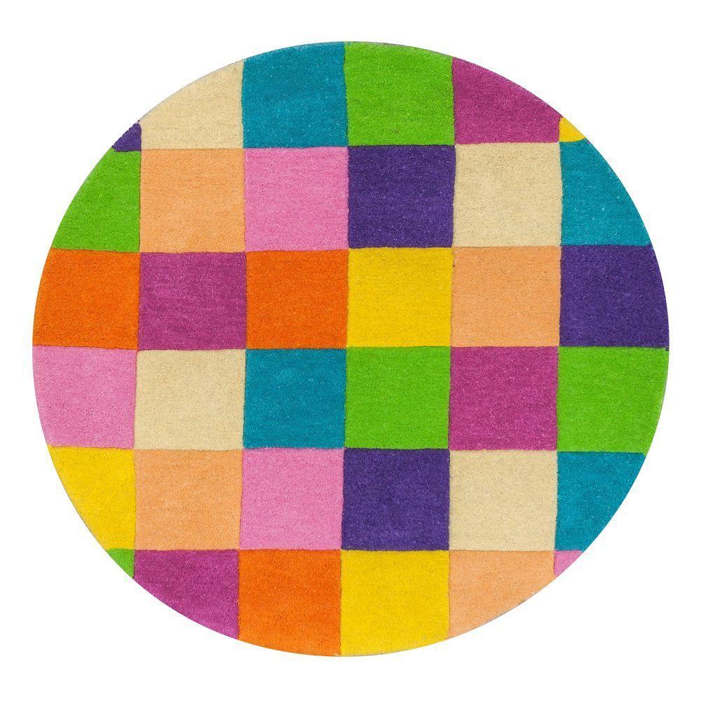 Kas Rugs Light Blocks Multicolor 3 ft. x 3 ft. Round Area Rug