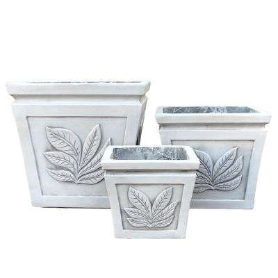 Lightweight Concrete Leaf Embossed Flared Square Seashell Light Grey Planter (Set of 3)