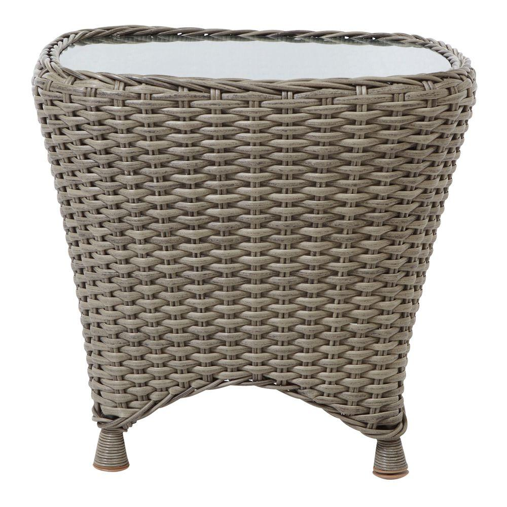 Charming Martha Stewart Living Lake Adela 20.5 In. H X 22 In. W Whethered Grey Patio  Side Table 0482200340   The Home Depot