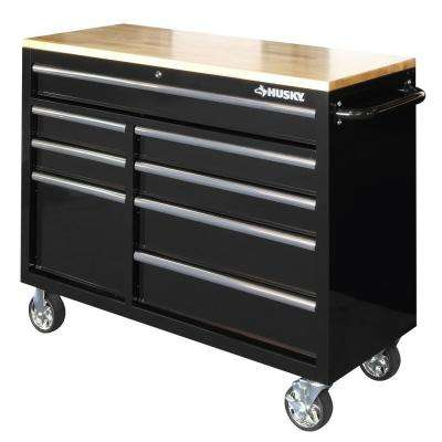 Heavy-Duty 46 in. 8-Drawer Mobile Workbench with 1 in. Solid Wood Top