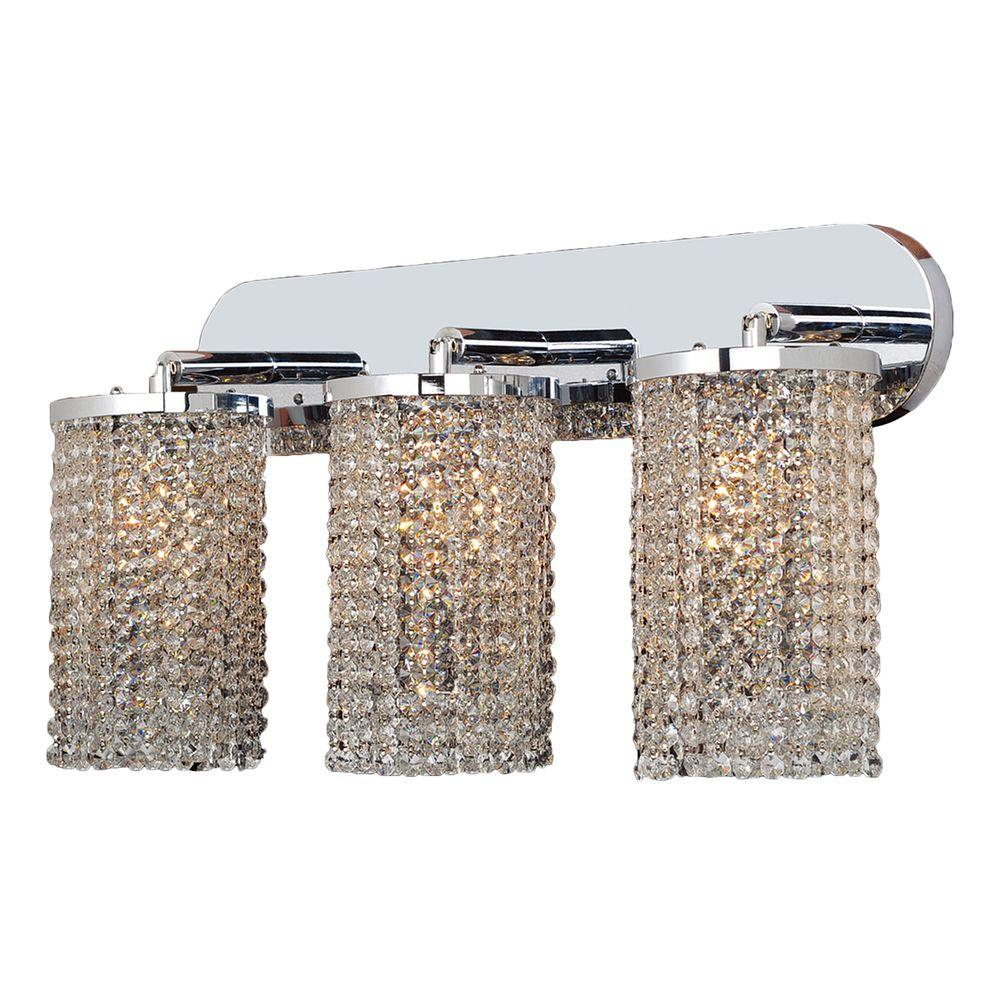Worldwide Lighting Prism Collection 3-Light Chrome with Clear Crystal Sconce