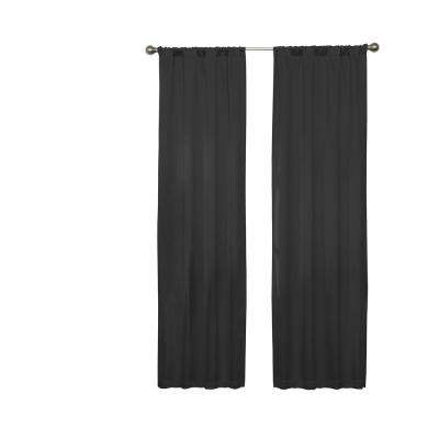 Darrell 63 in. L Black Rod Pocket Curtain