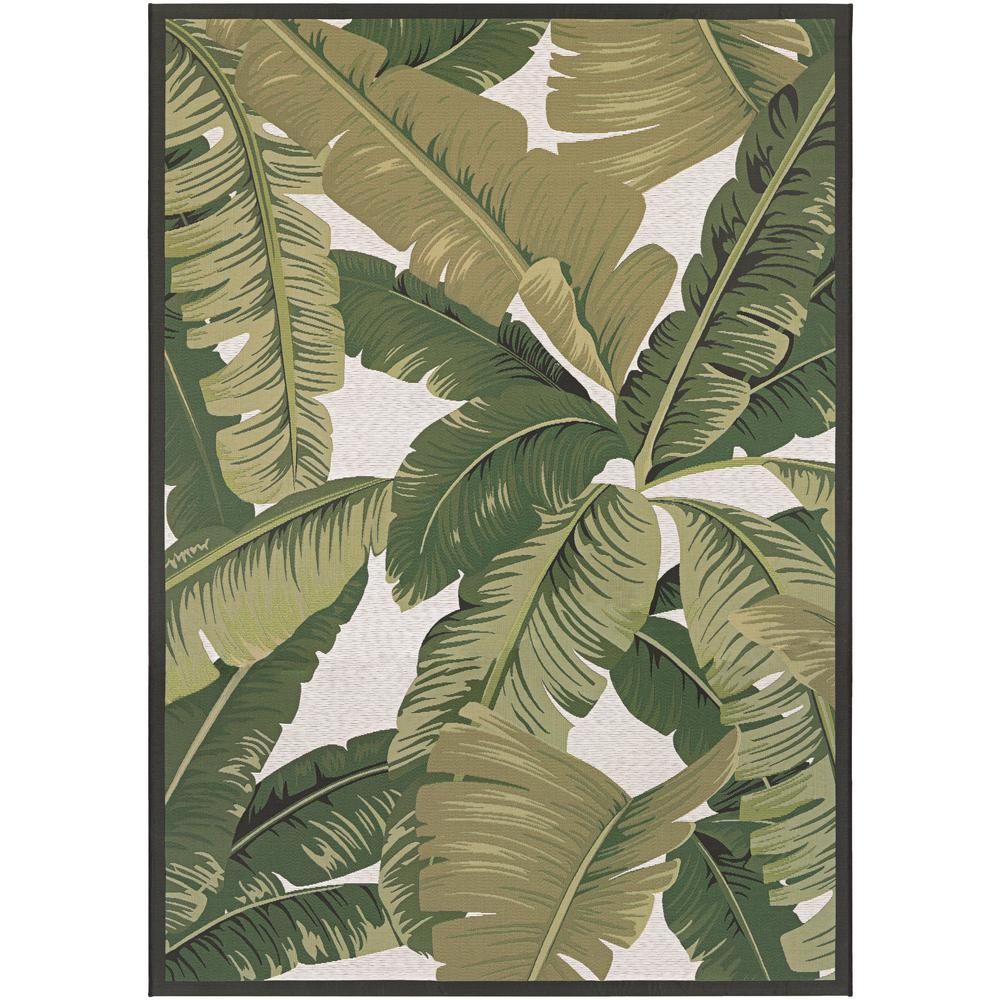 Dolce Palm Lily Hunter Green-Ivory 8 ft. x 11 ft. Indoor/Outdoor