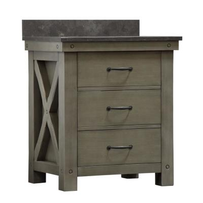 Aberdeen 30 in. W x 34 in. H Vanity in Gray with Granite Vanity Top in Limestone with White Basin and Mirror