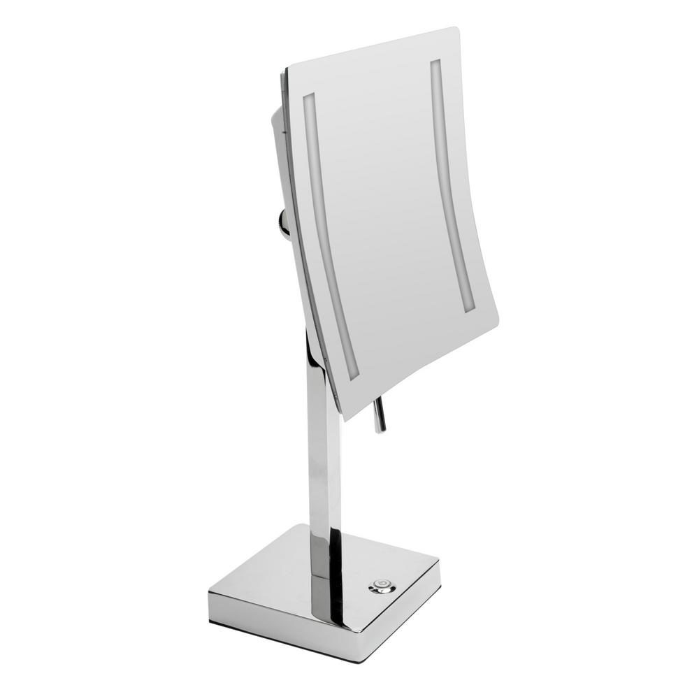 ALFI BRAND 14.5 in. x 8 in. Square Freestanding LED Lighted Single 5X Mirror in Polished Chrome