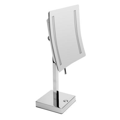 14.5 in. x 8 in. Square Freestanding LED Lighted Single 5X Mirror in Polished Chrome